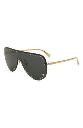 Женские солнцезащитные очки VERSACE черного цвета, арт. 2230B-100287 | Фото 1 (Тип очков: С/з; Очки форма: Маска; Оптика Гендер: оптика-унисекс)