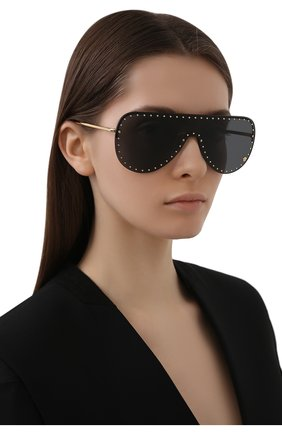 Женские солнцезащитные очки VERSACE черного цвета, арт. 2230B-100287 | Фото 2 (Тип очков: С/з; Очки форма: Маска; Оптика Гендер: оптика-унисекс)