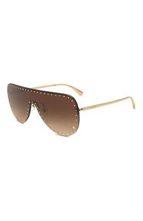 Женские солнцезащитные очки VERSACE коричневого цвета, арт. 2230B-125213 | Фото 1 (Тип очков: С/з; Очки форма: Маска; Оптика Гендер: оптика-женское)
