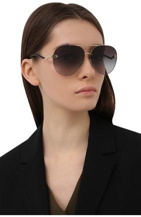 Женские солнцезащитные очки DOLCE & GABBANA черного цвета, арт. 2272-02/8G | Фото 2 (Тип очков: С/з; Очки форма: Авиаторы; Оптика Гендер: оптика-женское)