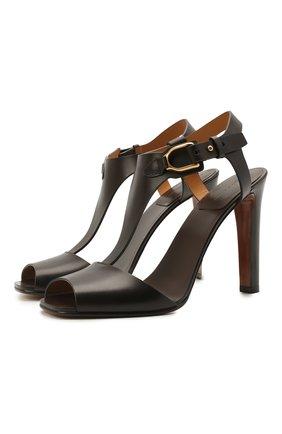 Женские кожаные босоножки emilie RALPH LAUREN темно-коричневого цвета, арт. 800841323 | Фото 1