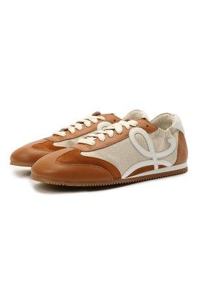Женские комбинированные кроссовки ballet runner LOEWE коричневого цвета, арт. L616282X03 | Фото 1