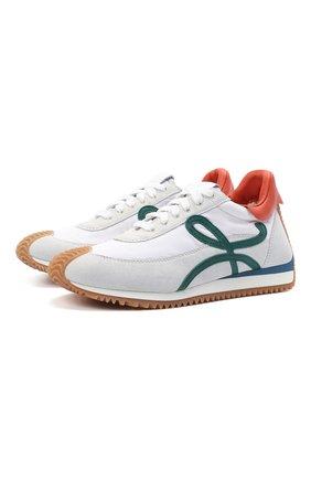 Женские комбинированные кроссовки flow runner LOEWE белого цвета, арт. L616282X07 | Фото 1