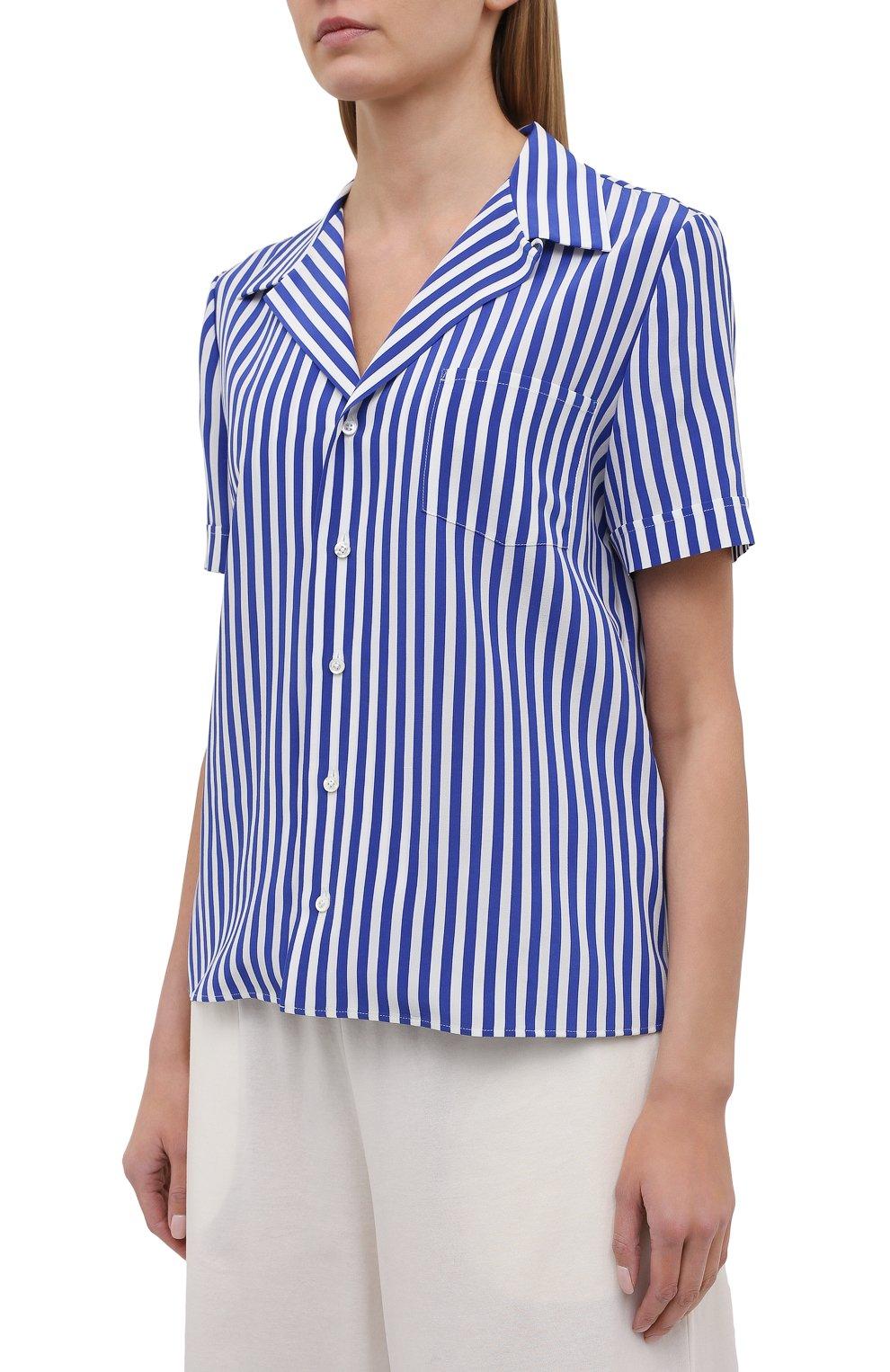 Женская шелковая рубашка RALPH LAUREN синего цвета, арт. 290840857 | Фото 3