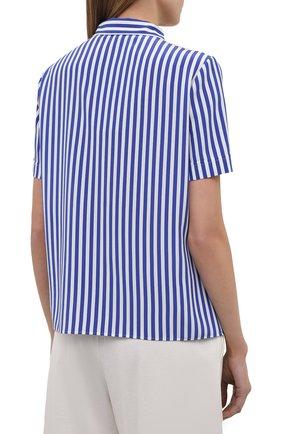 Женская шелковая рубашка RALPH LAUREN синего цвета, арт. 290840857 | Фото 4
