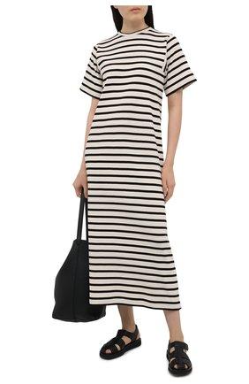 Женское хлопковое платье JIL SANDER черно-белого цвета, арт. JPPS717522-WS247518 | Фото 2