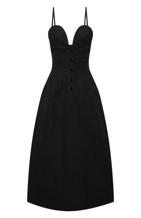 Женское хлопковое платье JIL SANDER черного цвета, арт. JSWS507875-WS244200 | Фото 1