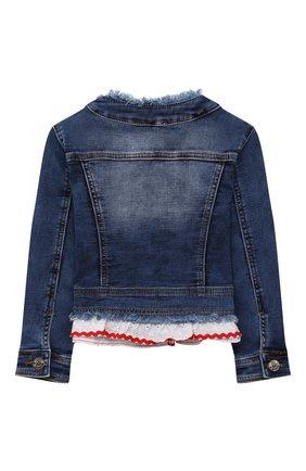 Детская джинсовая куртка MONNALISA синего цвета, арт. 197108R9 | Фото 2 (Материал внешний: Хлопок; Рукава: Длинные; Кросс-КТ: Деним; Ростовка одежда: 2 года | 92 см, 3 года | 98 см, 4 года | 104 см, 5 лет | 110 см, 6 лет | 116 см, 7 лет | 122 см, 8 лет | 128 см)