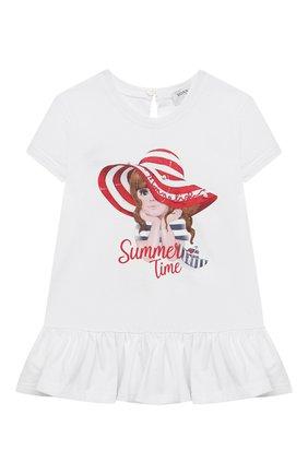 Детский хлопковая футболка MONNALISA белого цвета, арт. 317613P2 | Фото 1