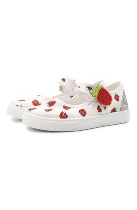 Детские текстильные туфли MONNALISA разноцветного цвета, арт. 8C7028 | Фото 1 (Материал внешний: Текстиль)
