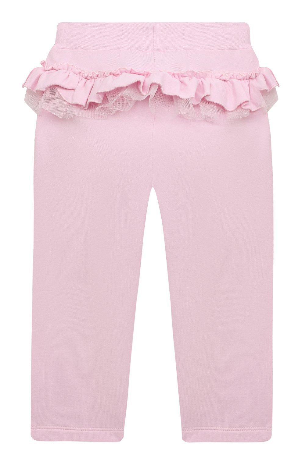 Детские хлопковые брюки MONNALISA розового цвета, арт. 377404   Фото 1