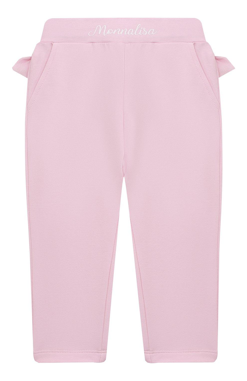 Детские хлопковые брюки MONNALISA розового цвета, арт. 377404   Фото 2
