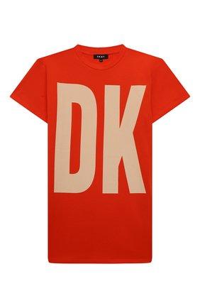 Детское хлопковое платье-футболка DKNY оранжевого цвета, арт. D32777 | Фото 1 (Материал внешний: Хлопок; Рукава: Короткие; Девочки Кросс-КТ: Платье-одежда; Случай: Повседневный; Ростовка одежда: 10 - 11 лет | 140 - 146см, 12 лет | 152 см, 13 - 15 лет | 158 см, 16 лет | 164 см, 8 лет | 128 см)