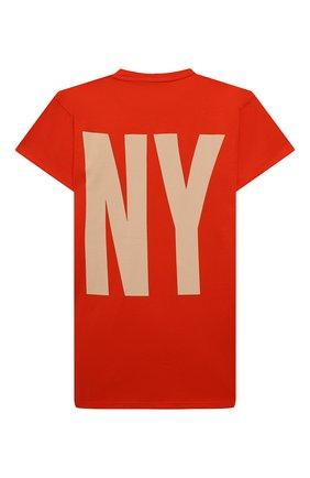 Детское хлопковое платье-футболка DKNY оранжевого цвета, арт. D32777 | Фото 2 (Материал внешний: Хлопок; Рукава: Короткие; Девочки Кросс-КТ: Платье-одежда; Случай: Повседневный; Ростовка одежда: 10 - 11 лет | 140 - 146см, 12 лет | 152 см, 13 - 15 лет | 158 см, 16 лет | 164 см, 8 лет | 128 см)