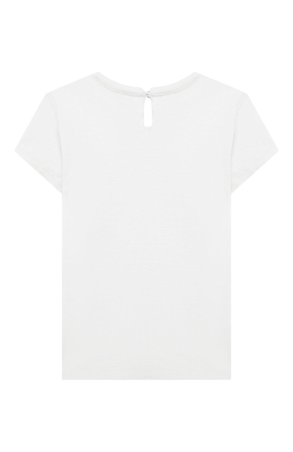 Детский хлопковая футболка MONNALISA белого цвета, арт. 317616PF | Фото 2 (Рукава: Короткие; Материал внешний: Хлопок; Ростовка одежда: 24 мес | 92 см)
