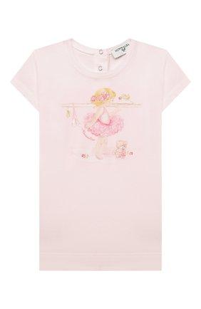 Детский хлопковая футболка MONNALISA розового цвета, арт. 397602SB | Фото 1