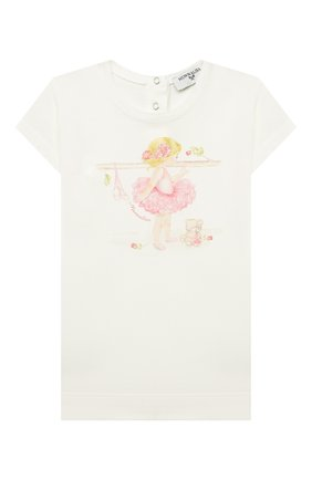 Детский хлопковая футболка MONNALISA белого цвета, арт. 397602SB | Фото 1