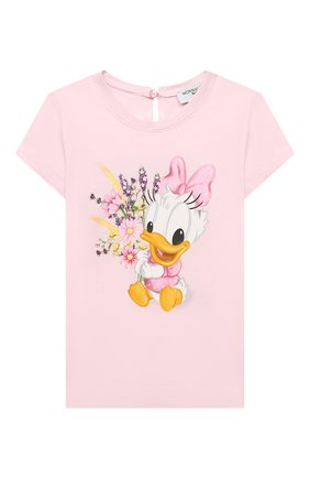 Детский хлопковая футболка MONNALISA розового цвета, арт. 317616PF | Фото 1
