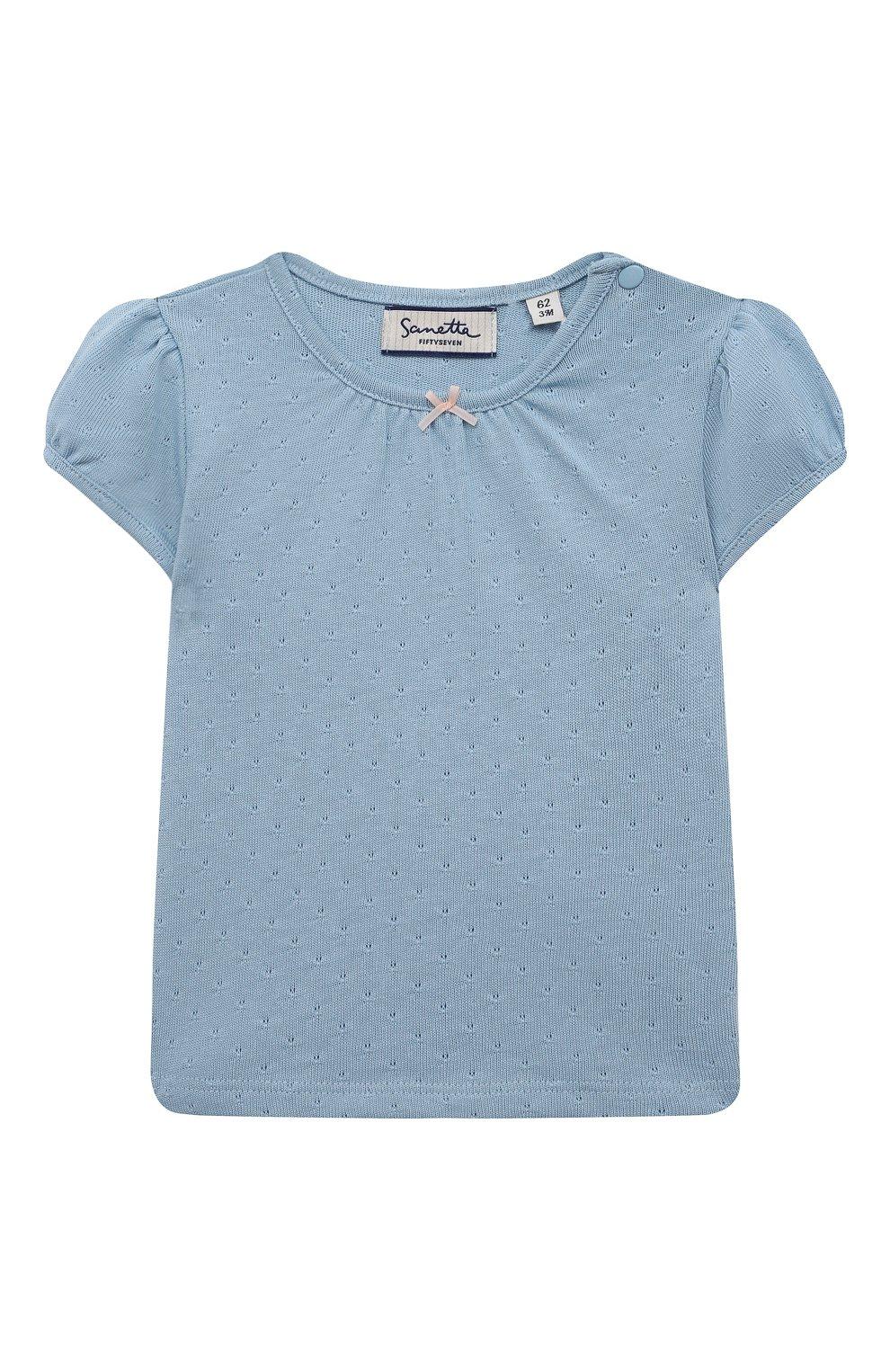 Детский хлопковая футболка SANETTA FIFTYSEVEN голубого цвета, арт. 906933. | Фото 1