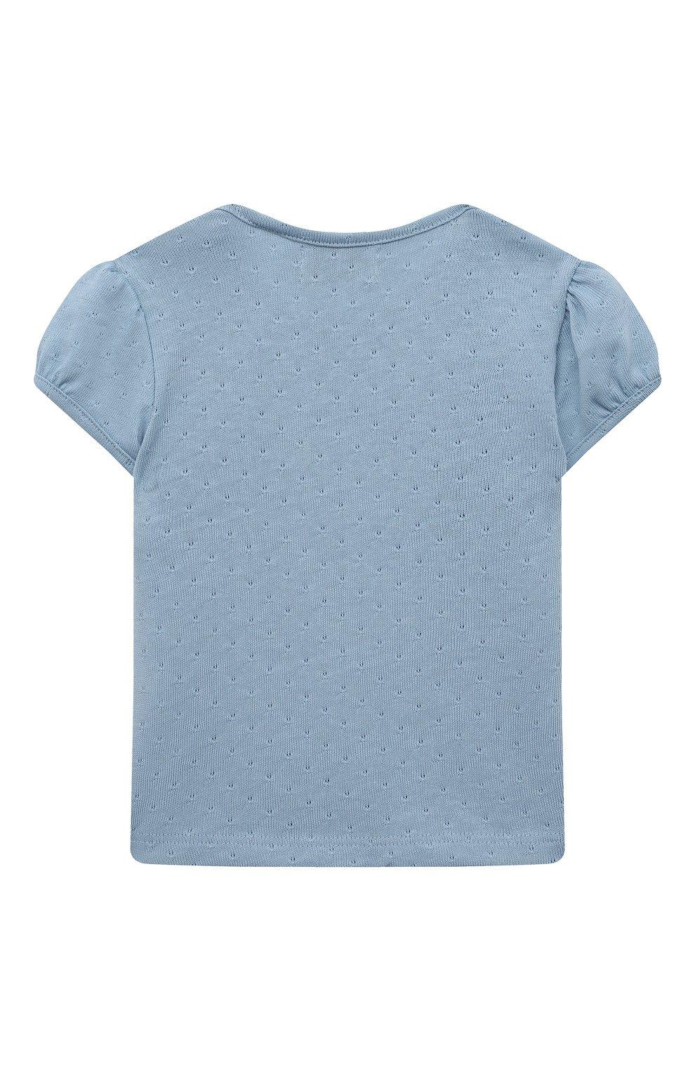 Детский хлопковая футболка SANETTA FIFTYSEVEN голубого цвета, арт. 906933. | Фото 2