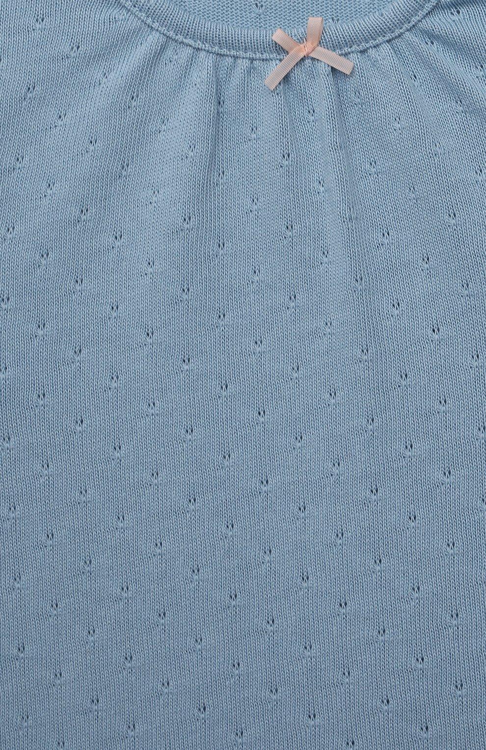 Детский хлопковая футболка SANETTA FIFTYSEVEN голубого цвета, арт. 906933. | Фото 3