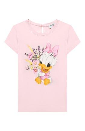 Детский хлопковая футболка MONNALISA розового цвета, арт. 317616PF. | Фото 1