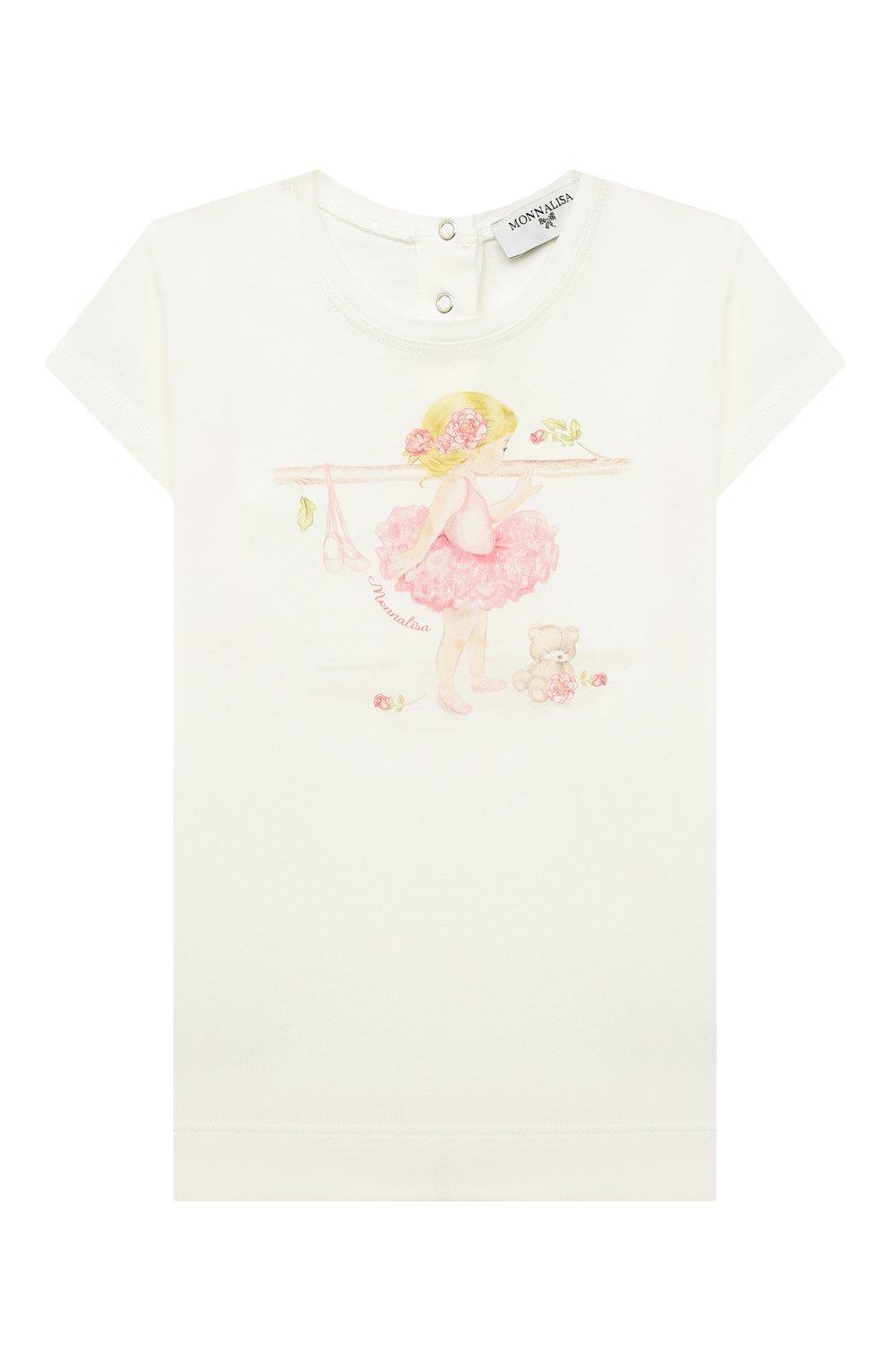 Детский хлопковая футболка MONNALISA белого цвета, арт. 397602SB.   Фото 1
