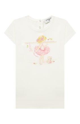 Детский хлопковая футболка MONNALISA белого цвета, арт. 397602SB. | Фото 1 (Рукава: Короткие; Материал внешний: Хлопок; Ростовка одежда: 12 мес | 80 см, 18 мес | 86 см)