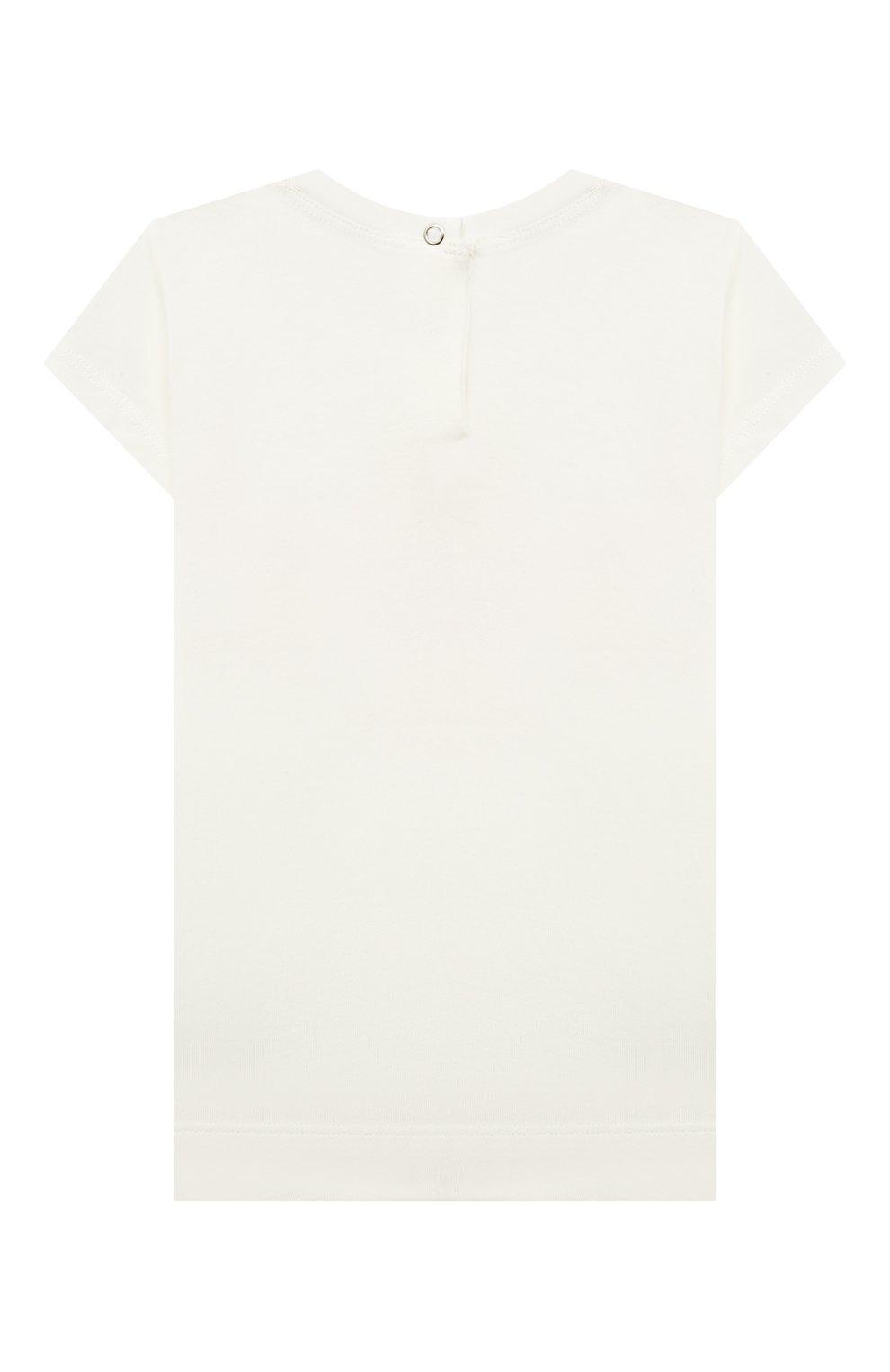 Детский хлопковая футболка MONNALISA белого цвета, арт. 397602SB.   Фото 2