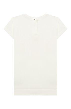 Детский хлопковая футболка MONNALISA белого цвета, арт. 397602SB. | Фото 2 (Рукава: Короткие; Материал внешний: Хлопок; Ростовка одежда: 12 мес | 80 см, 18 мес | 86 см)