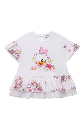 Детский хлопковая футболка MONNALISA белого цвета, арт. 317623PO | Фото 1