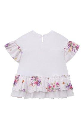 Детский хлопковая футболка MONNALISA белого цвета, арт. 317623PO | Фото 2