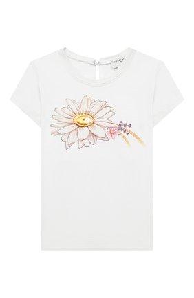Детский хлопковая футболка MONNALISA белого цвета, арт. 317620PL. | Фото 1 (Рукава: Короткие; Материал внешний: Хлопок; Ростовка одежда: 12 мес | 80 см, 18 мес | 86 см)
