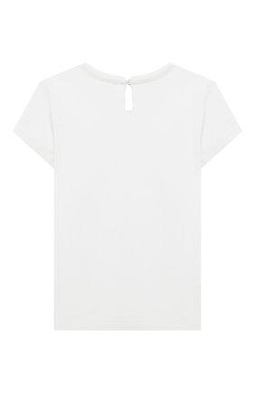 Детский хлопковая футболка MONNALISA белого цвета, арт. 317620PL. | Фото 2 (Рукава: Короткие; Материал внешний: Хлопок; Ростовка одежда: 12 мес | 80 см, 18 мес | 86 см)