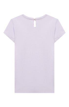 Детский хлопковая футболка MONNALISA сиреневого цвета, арт. 317620PL. | Фото 2