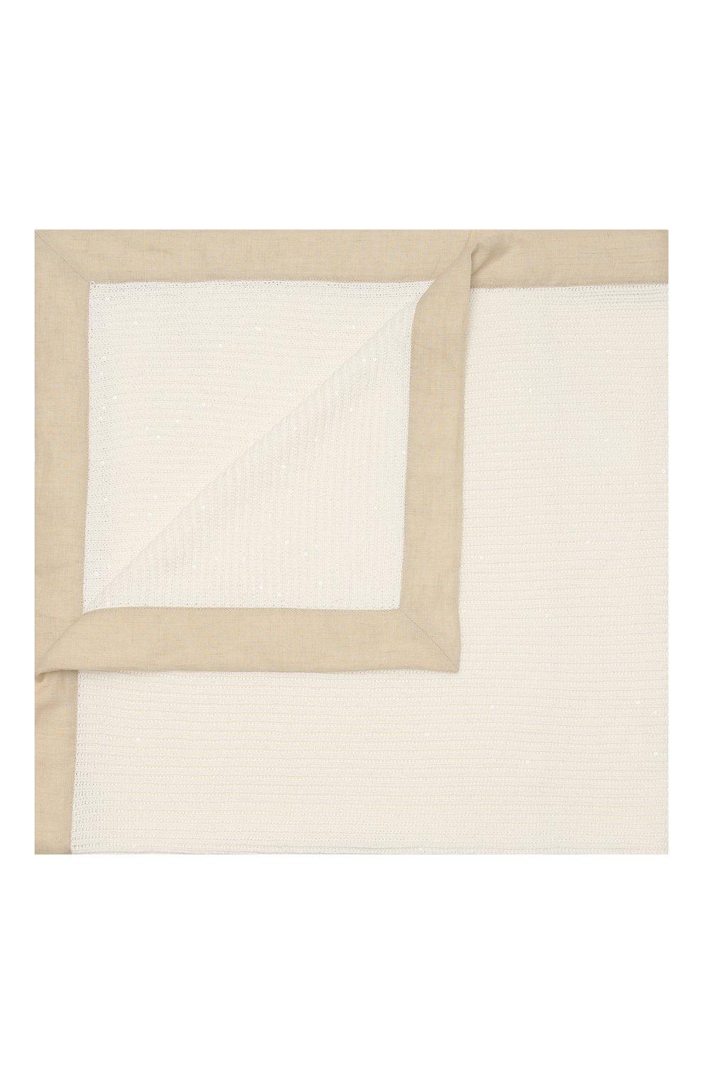 Детского одеяло из хлопка и льна BRUNELLO CUCINELLI белого цвета, арт. B7058L021 | Фото 1