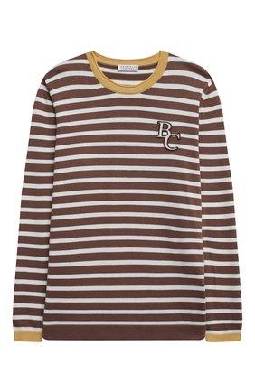 Детский хлопковый пуловер BRUNELLO CUCINELLI коричневого цвета, арт. B29M13800B   Фото 1