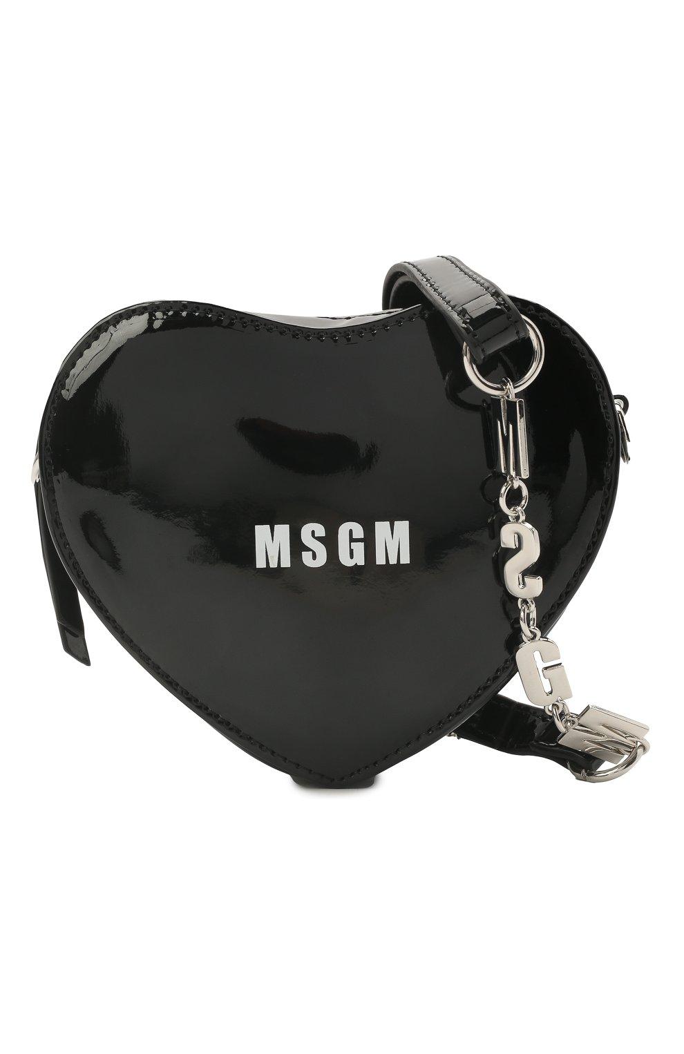 Детская сумка MSGM KIDS черного цвета, арт. MS026865   Фото 4 (Материал: Экокожа)