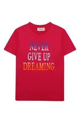 Детская хлопковая футболка ALBERTA FERRETTI JUNIOR фуксия цвета, арт. 027809   Фото 1