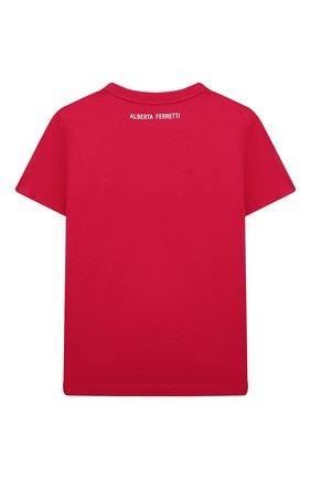 Детская хлопковая футболка ALBERTA FERRETTI JUNIOR фуксия цвета, арт. 027809   Фото 2
