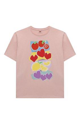 Детская хлопковая футболка STELLA MCCARTNEY розового цвета, арт. 602650/SQJC4 | Фото 1