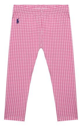 Детские хлопковые леггинсы POLO RALPH LAUREN розового цвета, арт. 311833609 | Фото 1