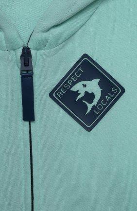 Детский хлопковая толстовка IL GUFO бирюзового цвета, арт. P21GA358M0030/12M-18M   Фото 3 (Рукава: Длинные; Материал внешний: Хлопок; Ростовка одежда: 6 мес   68 см, 12 мес   80 см)