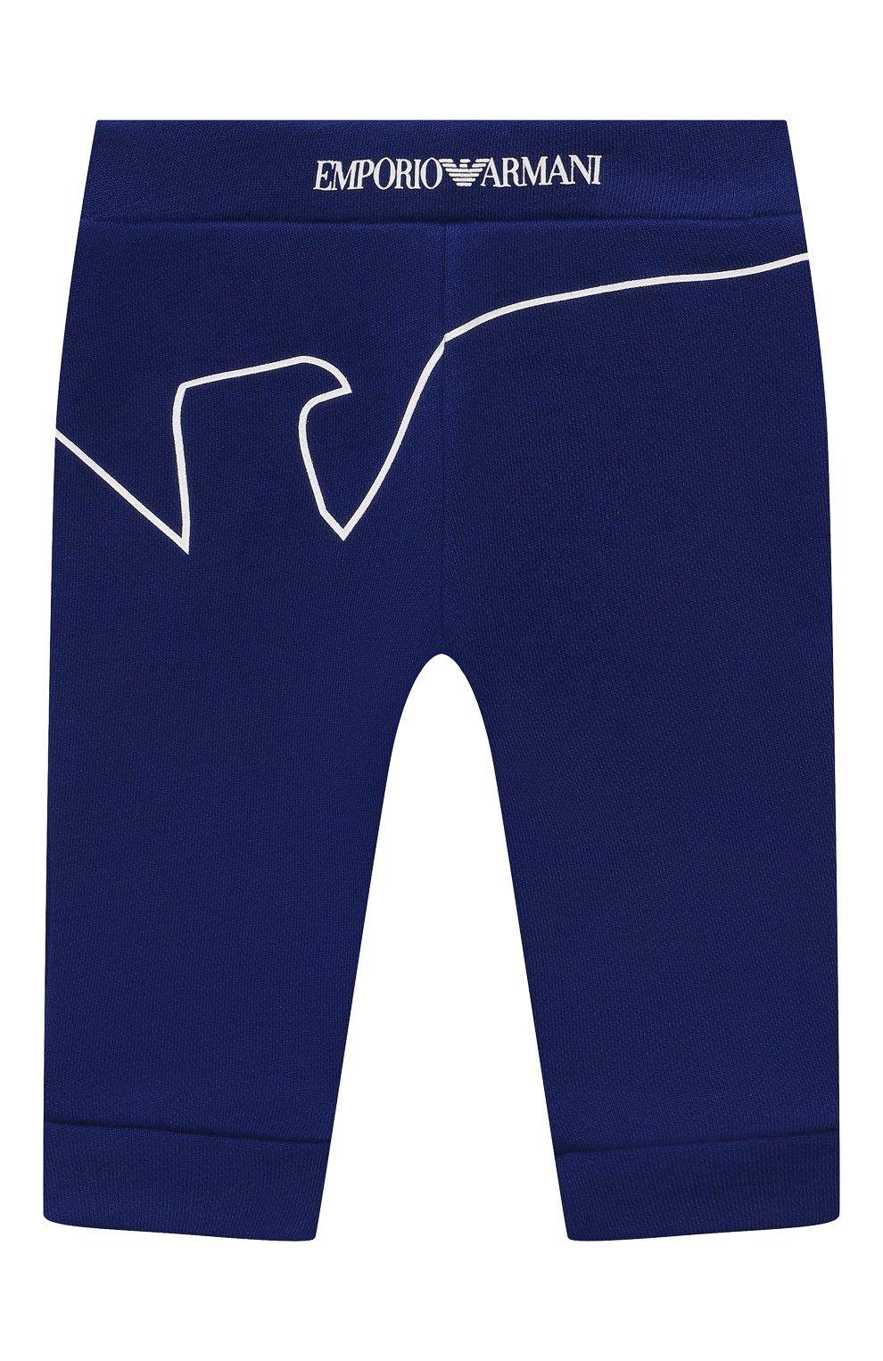 Детские джоггеры из вискозы и хлопка EMPORIO ARMANI синего цвета, арт. 3KHP03/4J4IZ | Фото 1
