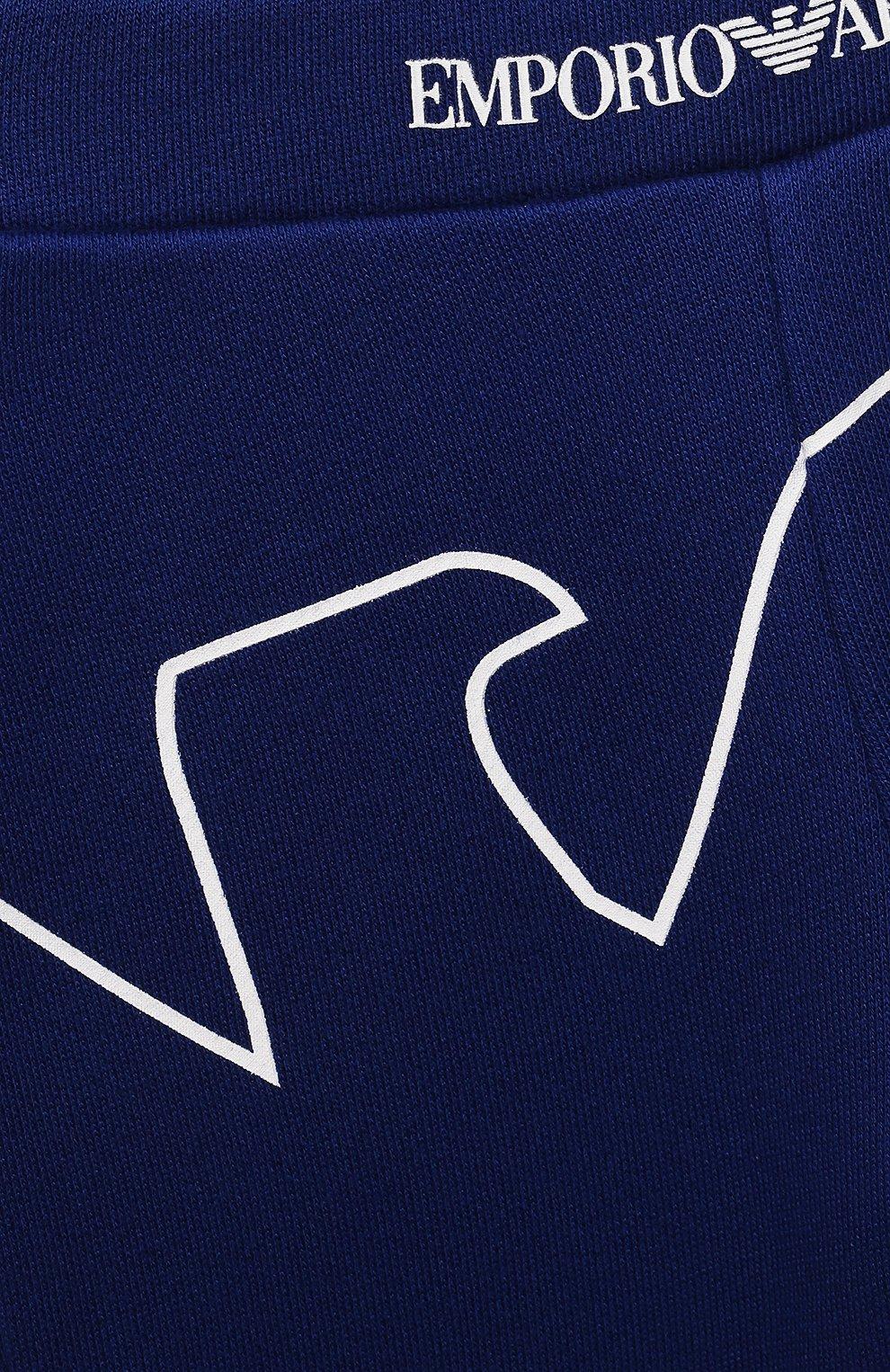Детские джоггеры из вискозы и хлопка EMPORIO ARMANI синего цвета, арт. 3KHP03/4J4IZ | Фото 3
