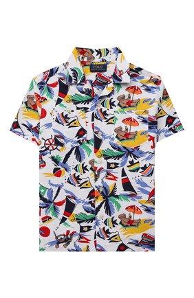 Детская хлопковая рубашка POLO RALPH LAUREN разноцветного цвета, арт. 321835438 | Фото 1 (Материал внешний: Хлопок; Рукава: Короткие; Ростовка одежда: 3 года | 98 см, 4 года | 104 см)