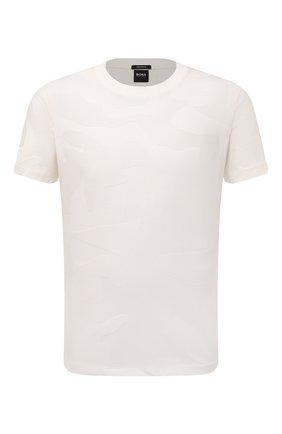 Мужская хлопковая футболка BOSS бежевого цвета, арт. 50449908 | Фото 1