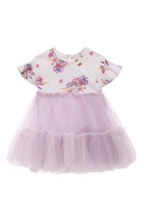 Женский хлопкковое платье MONNALISA сиреневого цвета, арт. 317915 | Фото 1