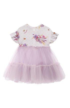 Женский хлопкковое платье MONNALISA сиреневого цвета, арт. 317915 | Фото 2