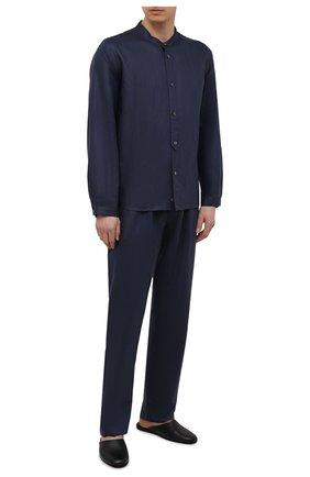 Мужская сорочка изо льна и хлопка ZIMMERLI темно-синего цвета, арт. 4697-75421 | Фото 2